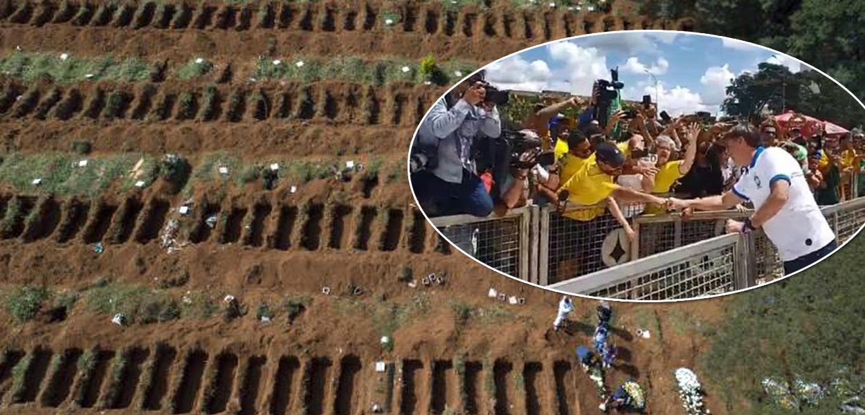 Jair Bolsonaro limpa o nariz e cumprimenta apoiadores