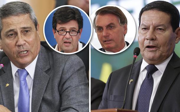 General Braga Netto, Hamilton Mourão; Luiz Henrique Mandetta e Jair Bolsonaro no detalhe