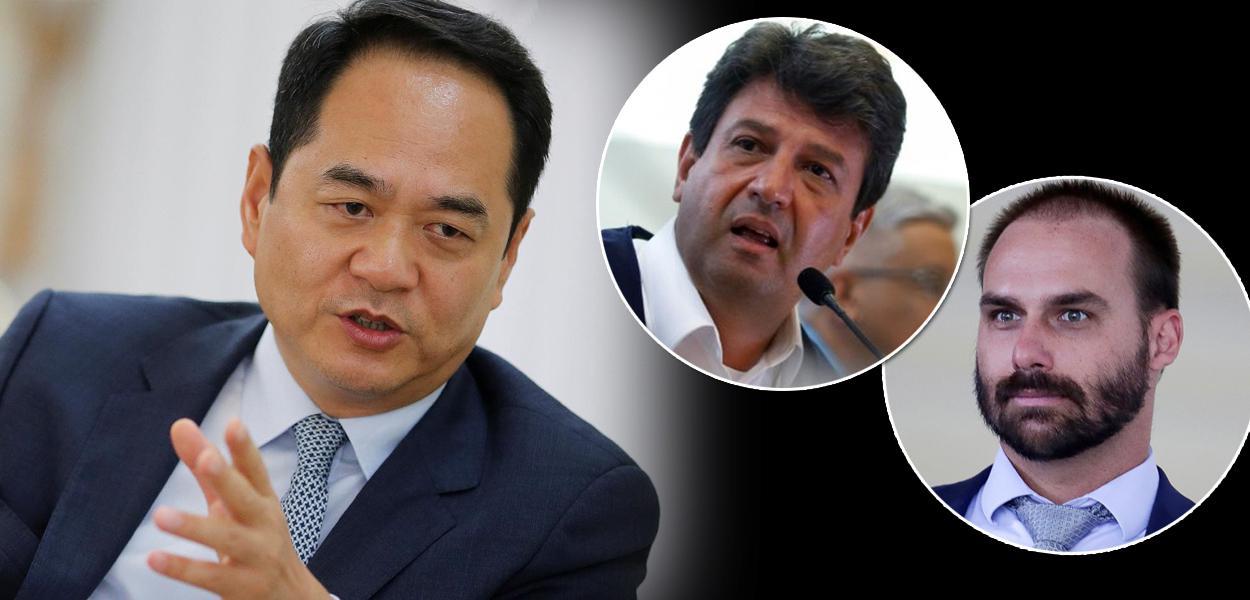 Embaixador chinês Yang Wanming, Eduardo Bolsonaro e Luiz Henrique Mandetta