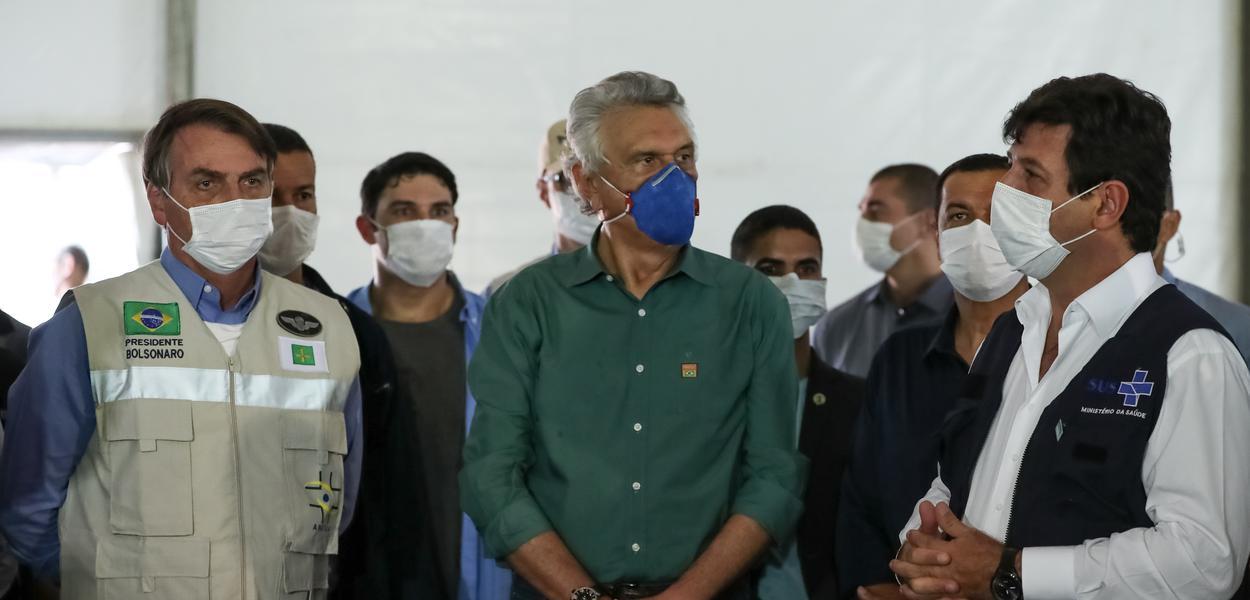 Presidente da República Jair Bolsonaro, durante visita ao Hospital de Campanha de Águas Lindas de Goiás.