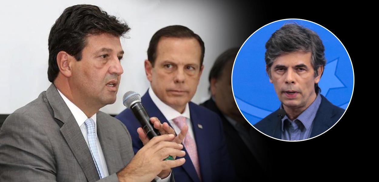 Luiz Henrique Mandetta, João Doria e Nelson Teich