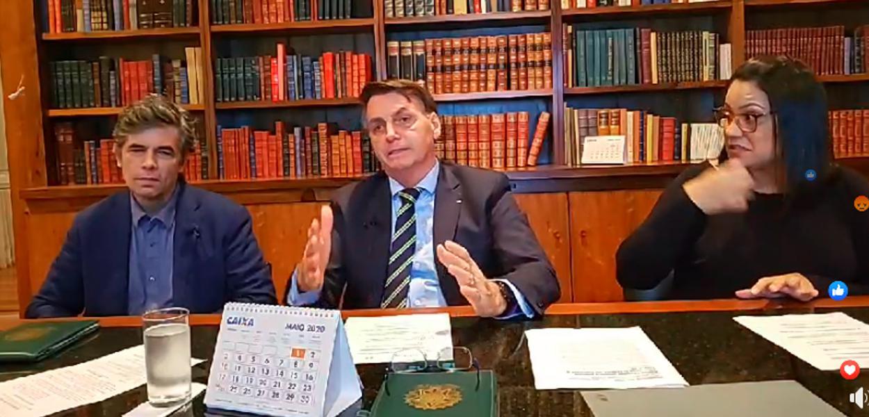 Nelson Teich em live com Jair Bolsonaro
