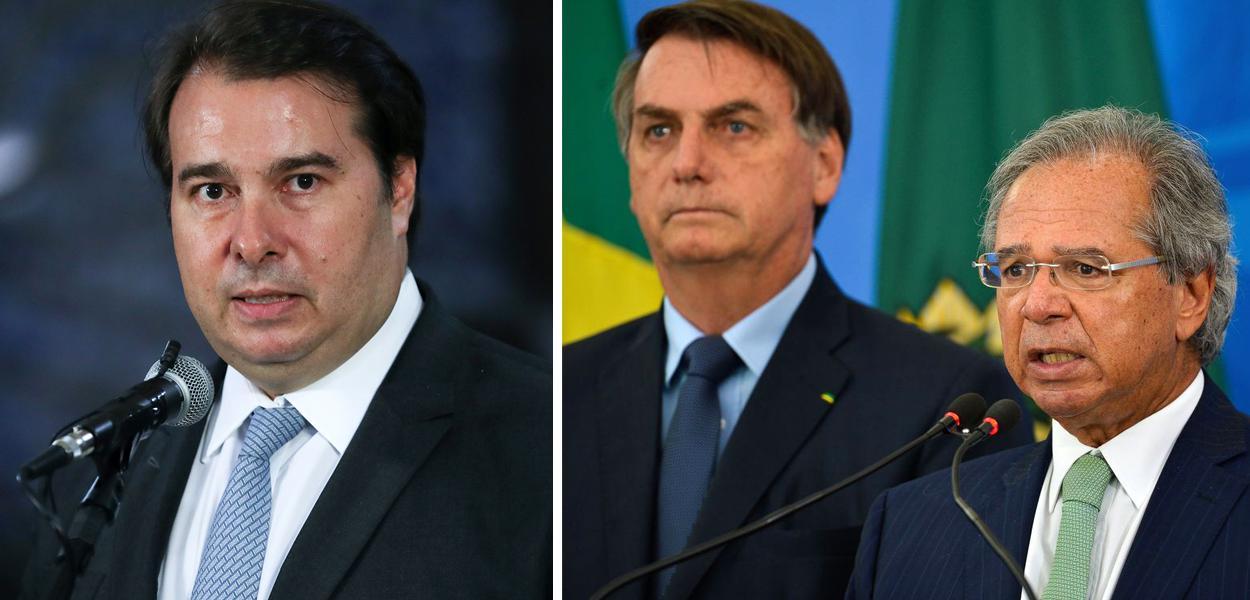 Rodrigo Maia, Jair Bolsonaro e Paulo Guedes