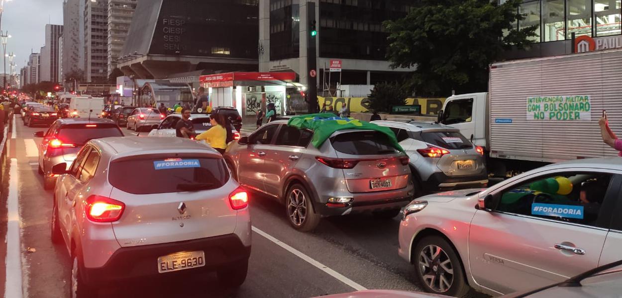 Protesto de bolsonaristas na Av. Paulista pede 'Fora Doria'