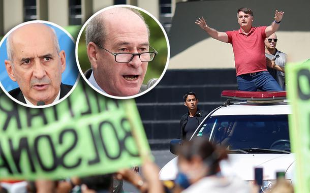 Luiz Eduardo Ramos e Fernando Azevedo e Silva; Jair Bolsonaro gesticula enquanto fala a apoiadores em um protesto.