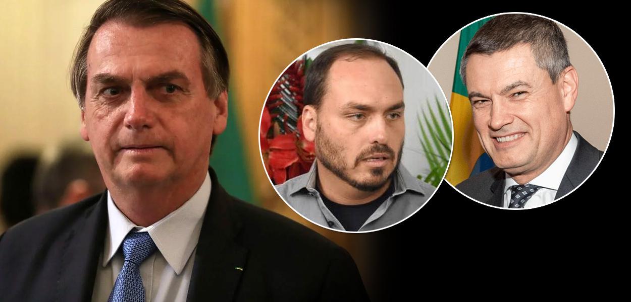 Jair Bolsonaro, Carlos Bolsonaro e Maurício Valeixo