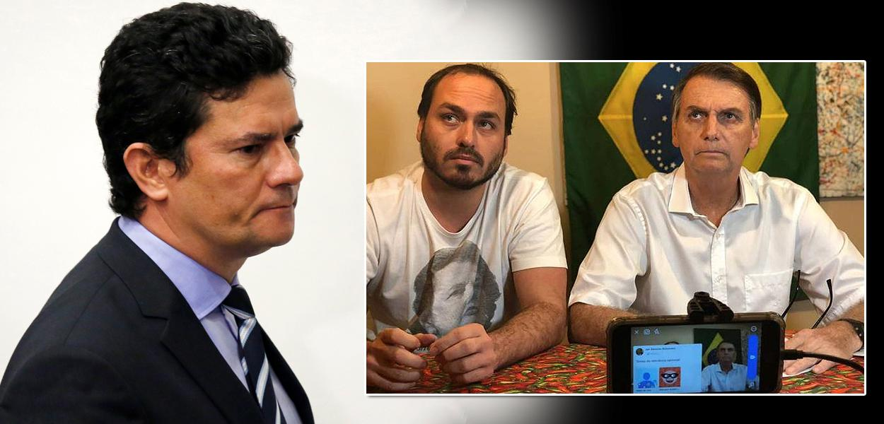 Sérgio Moro, Carlos Bolsonaro e Jair Bolsonaro