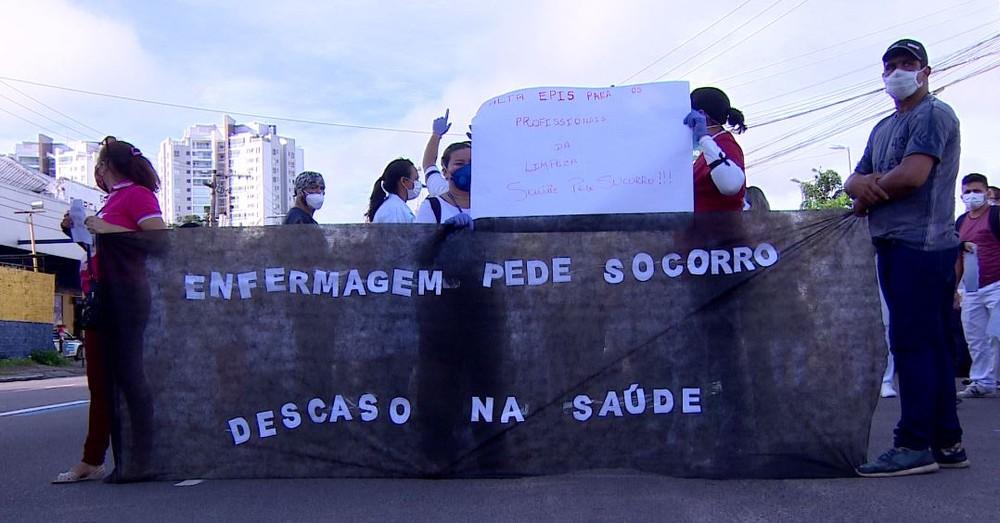 Protesto de enfermeiros em Manaus