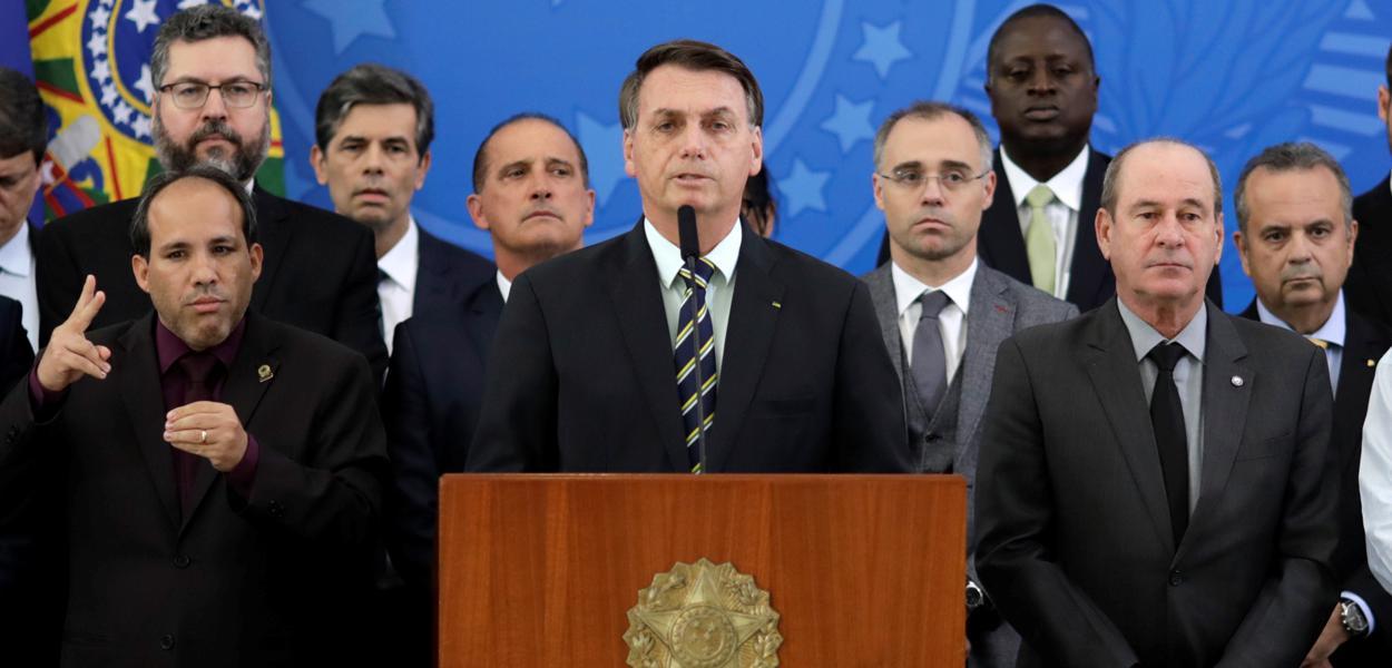 Bolsonaro durante pronunciamento no Palácio do Planalto 24/4/2020