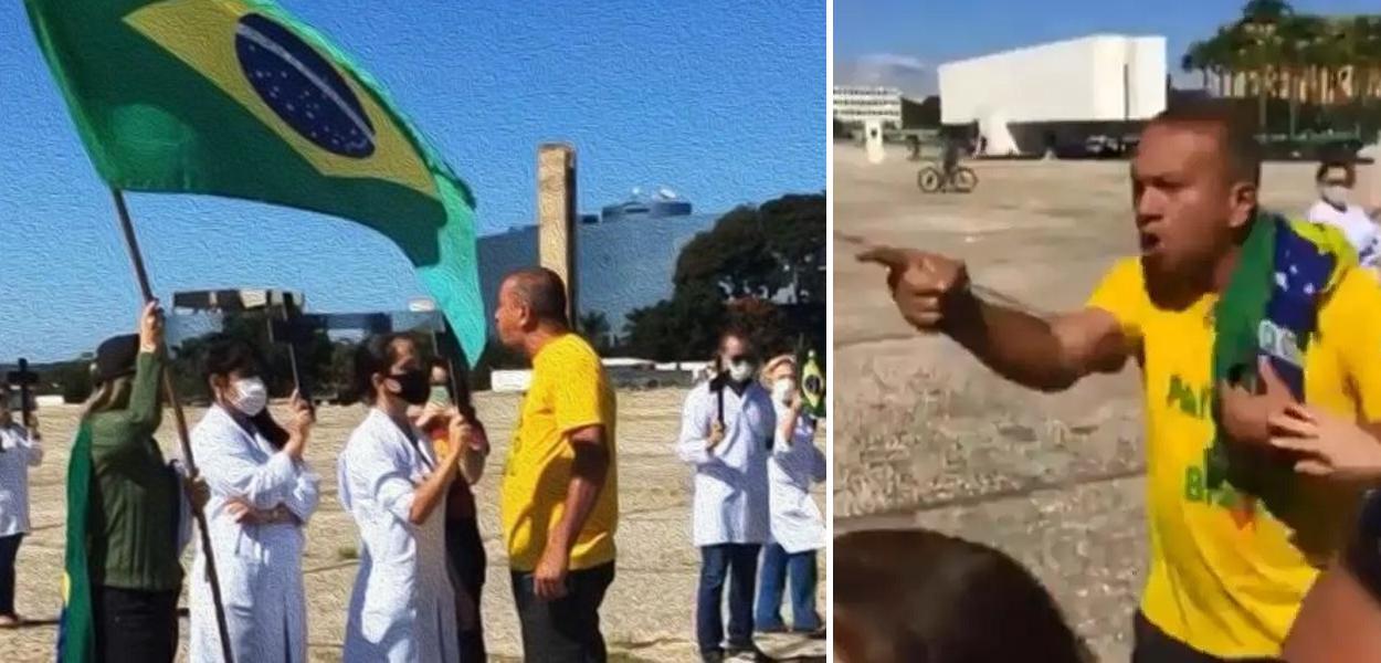 Em protesto, bolsonaristas atacam profissionais de saúde