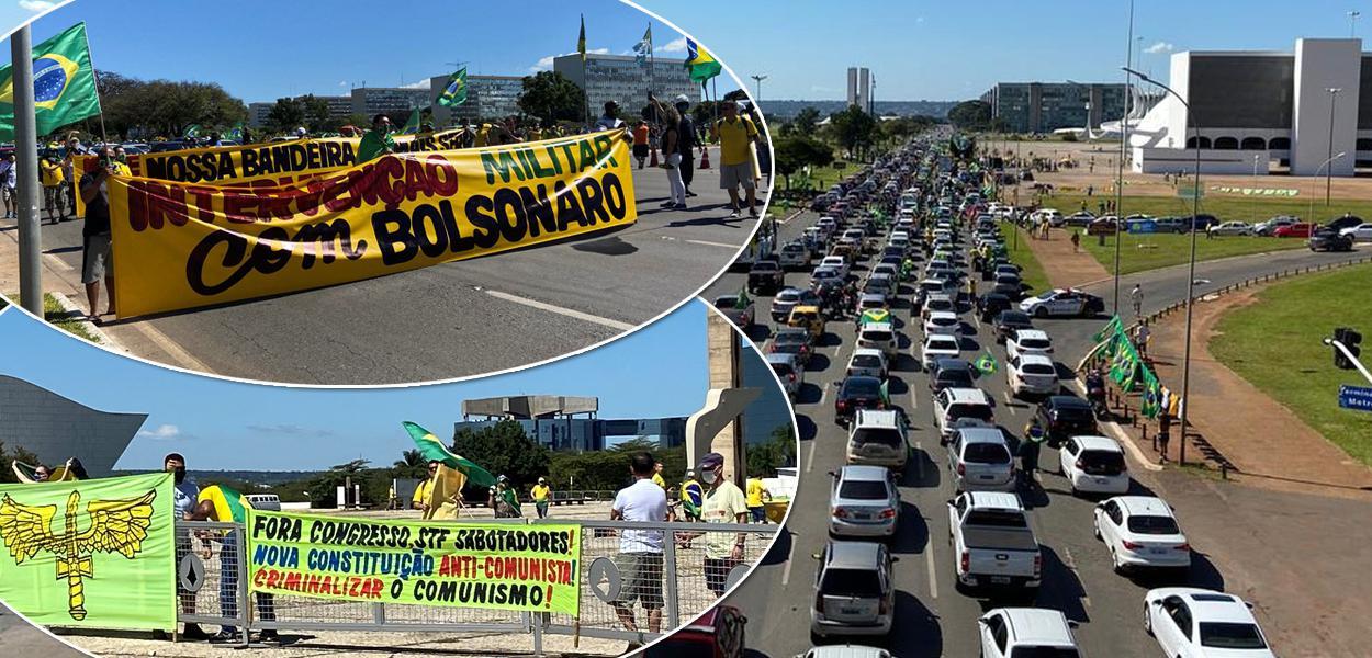 Apoiadores de Jair Bolsonaro em carreata