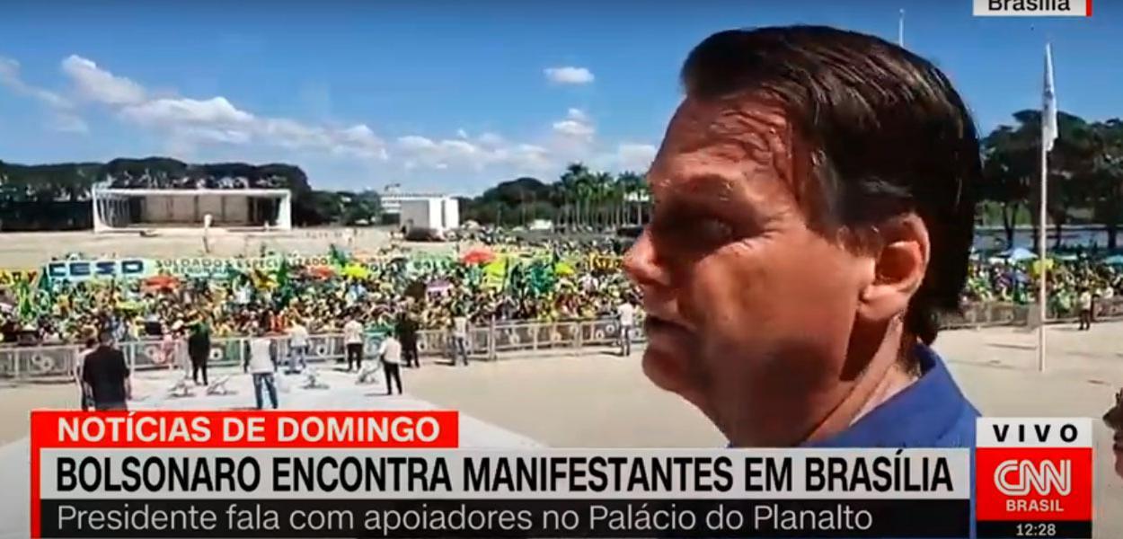 Jair Bolsonaro em ato em Brasília