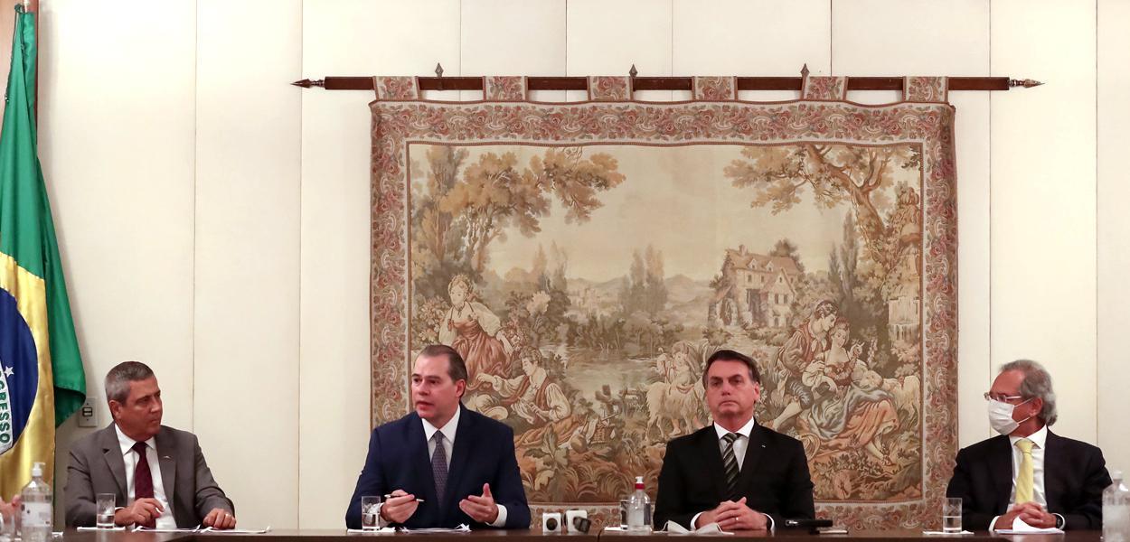 (Brasília - DF, 07/05/2020) Reunião com Braga Netto, Ministro-Chefe da Casa Civil da Presidência da República; Paulo Guedes, Ministro de Estado da Economia; Dias Toffoli, Presidente do Supremo Tribunal Federal; e grupo de empresários.