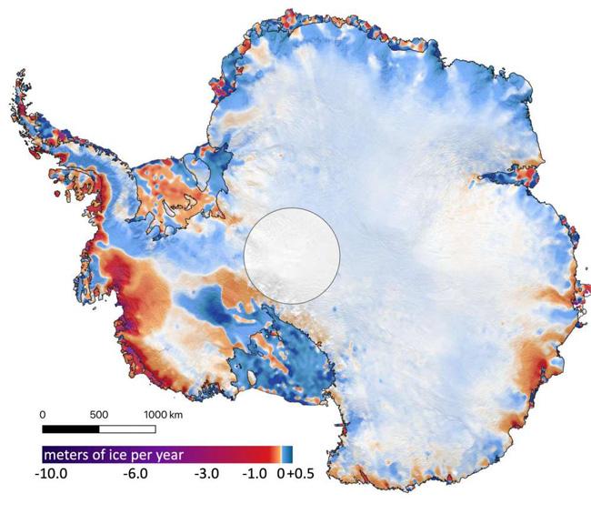 Mapa do derretimento do gelo na Antártica
