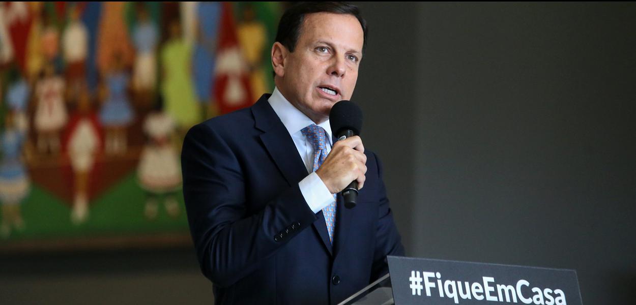 Governador do Estado de São Paulo, João Doria, durante coletiva de imprensa sobre o coronavírus