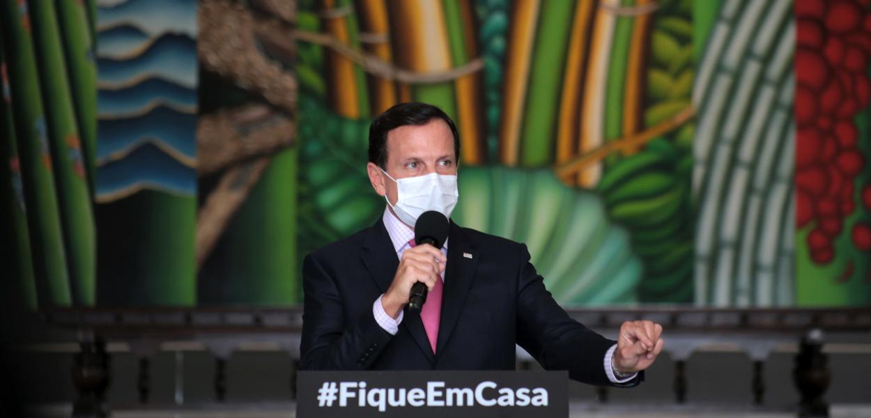 O Governador do Estado de São Paulo, João Doria, durante a coletiva de imprensa de combate ao coronavírus.