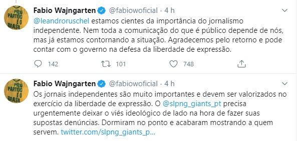 Tweets de Fábio Wajangarten