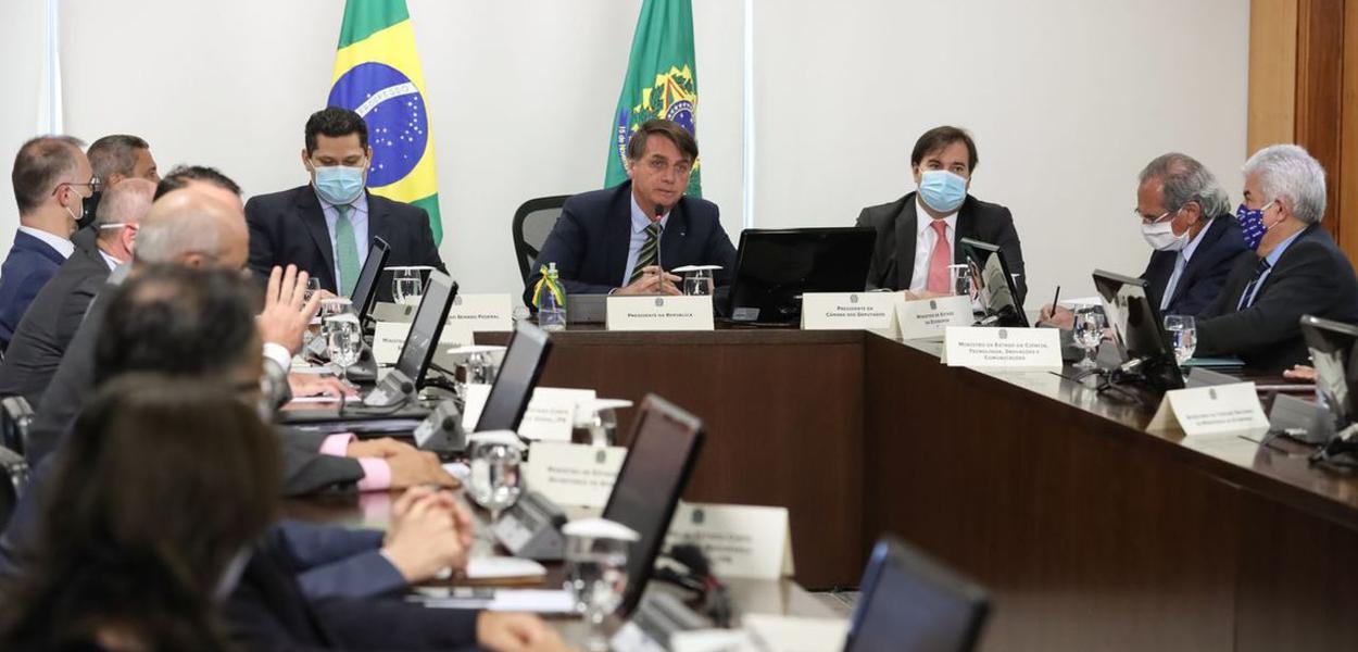Jair Bolsonaro, Davi Alcolumbre e Rodrigo Maia