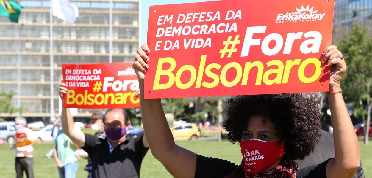 Brasília- DF. 21-05-2020- Presidenta do PT, Gleisi Hoffmann e parlamentares da oposição durante entrevista após entrar com pedido de impeachment do Bolsonaro.