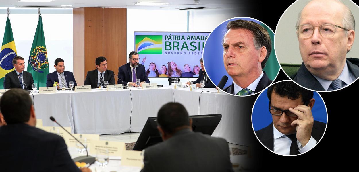Jair Bolsonaro, Hamilton Mourão, Sergio Moro, Ernesto Araújo e Celso de Mello