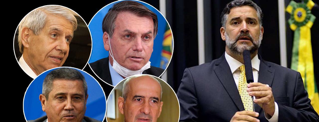 Augusto Heleno, Jair Bolsonaro, Braga Netto, Luiz Eduardo Ramos e Paulo Pimenta