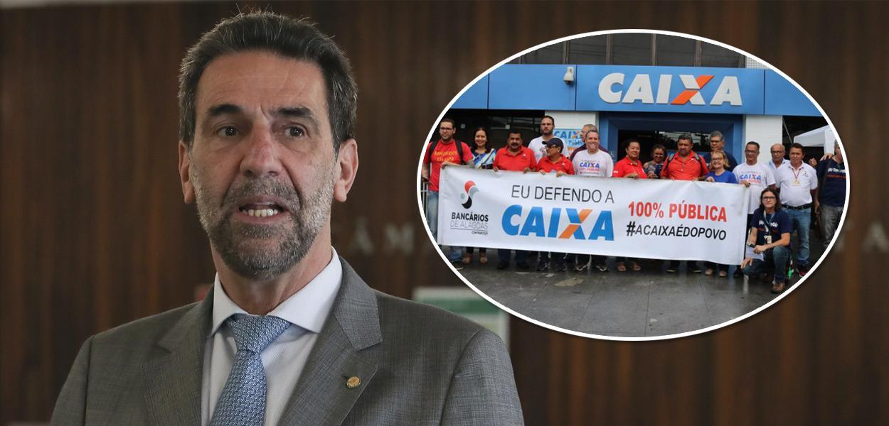 Enio Verri e protesto contra privatização da Caixa