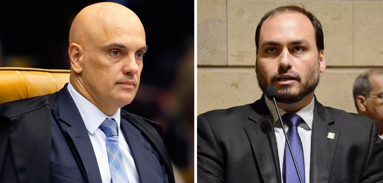 Alexandre de Moraes e Carlos Bolsonaro