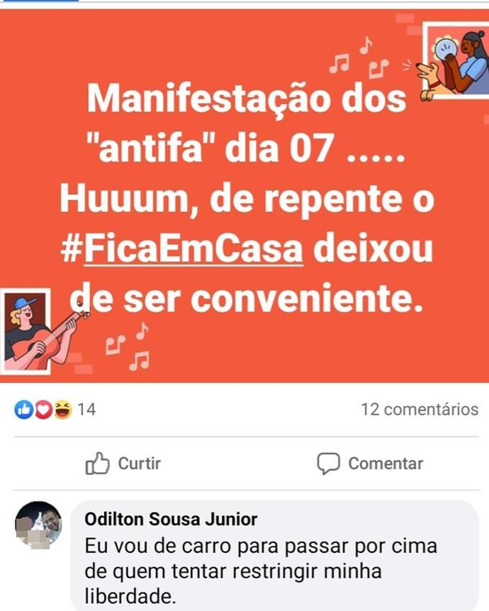 Post ameaça a antifascistas