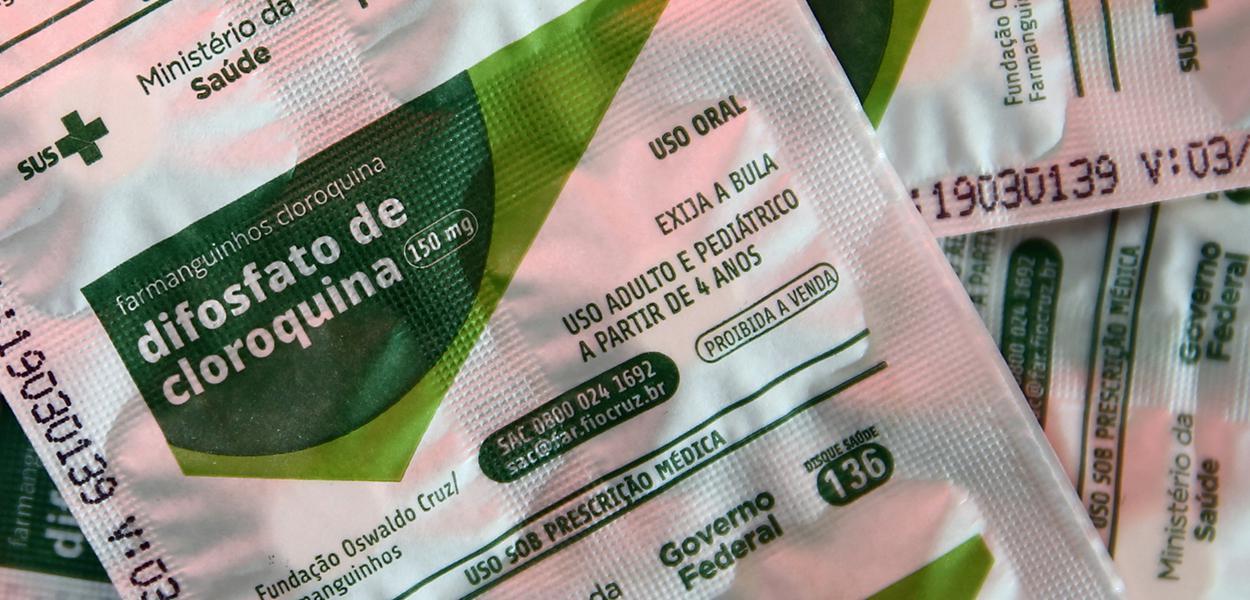 Cartelas com comprimidos de cloroquina