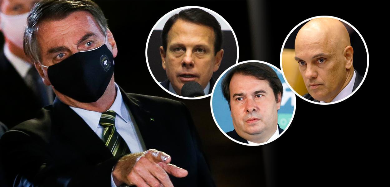 Jair Bolsonaro, João Doria, Rodrigo Maia e Alexandre de Moraes