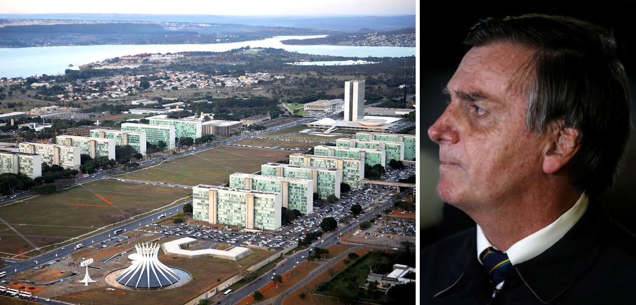 Esplanada dos Ministérios em Brasília-DF e Jair Bolsonaro