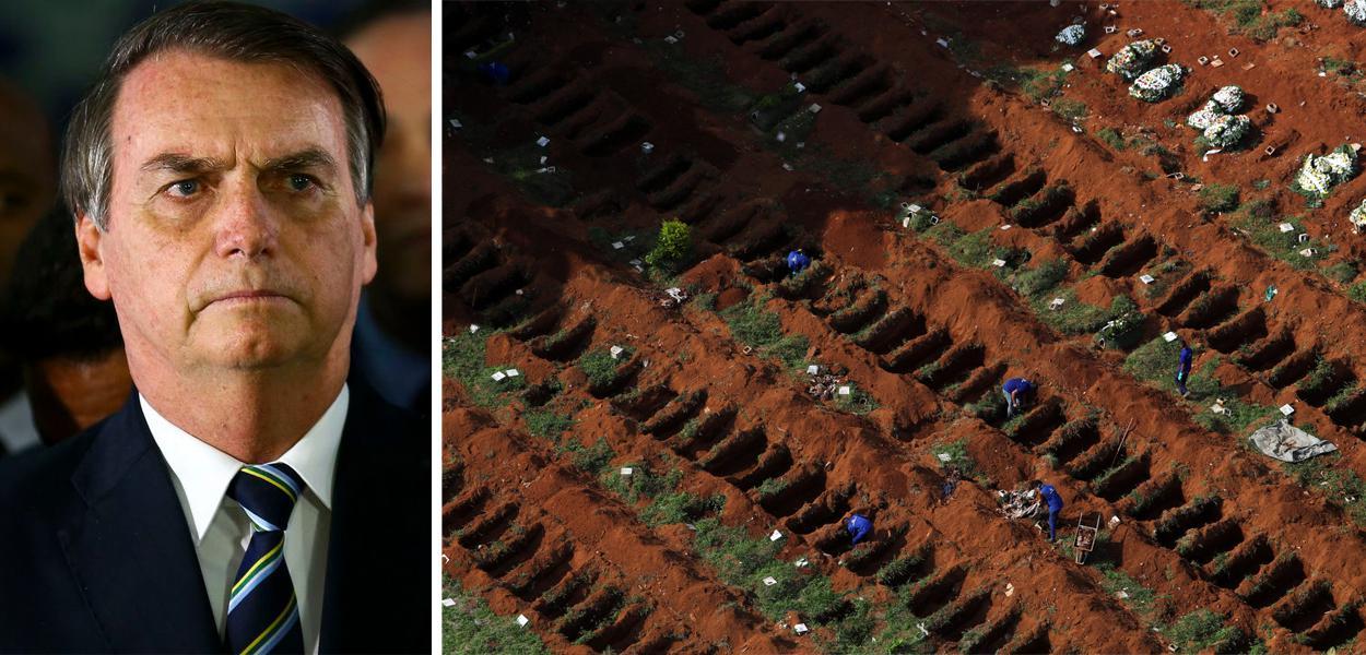 Jair Bolsonaro e covas para mortos por coronavírus