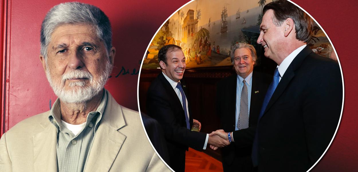 Celso Amorim; Jair Bolsonaro, cumprimenta o empresário Gerald Brant em encontro nos EUA em março de 2019. Entre eles, Steve Bannon.