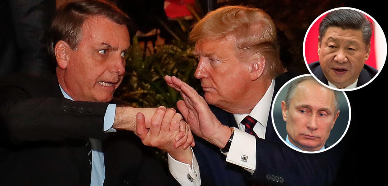 Jair Bolsonaro, Donald Trump, Xi Jinping e Vladimir Putin