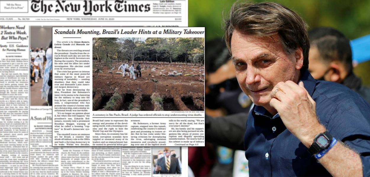 Capa do New York Times e Jair Bolsonaro