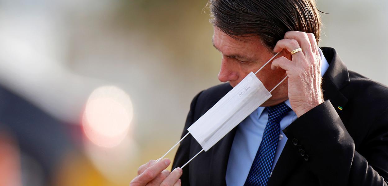 Presidente Jair Bolsonaro coloca máscara de proteção em Brasília 09/06/2020