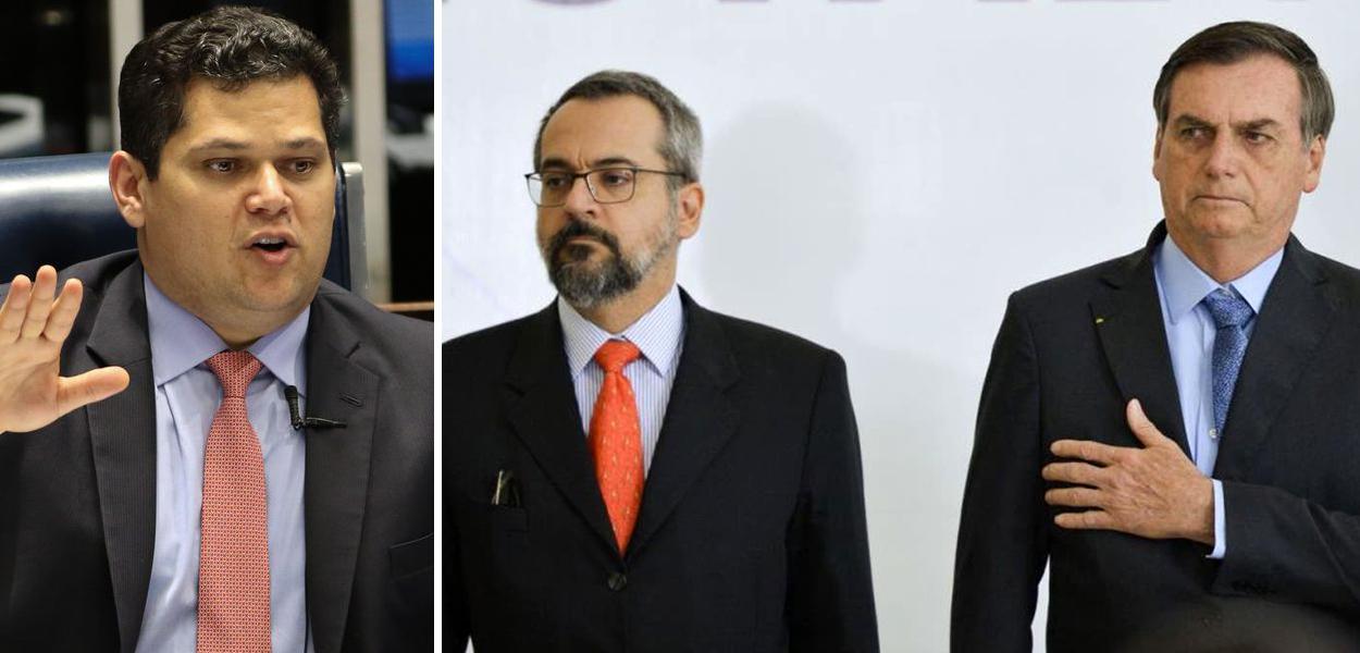 Davi Alcolumbre, Abraham Weintraub e Jair Bolsonaro