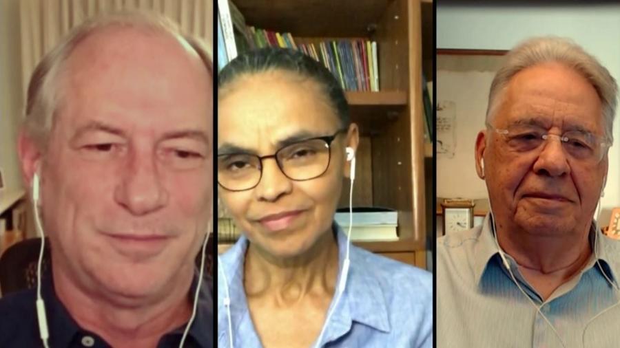 Ciro Gomes, Marina Silva e FHC, em debate pró Frente Ampla organizado pela Globo - 07/06/2020