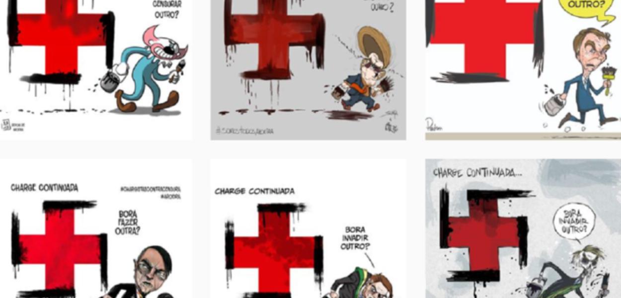 Alguns dos cartuns do perfil @SomosTodosAroeira no instagram