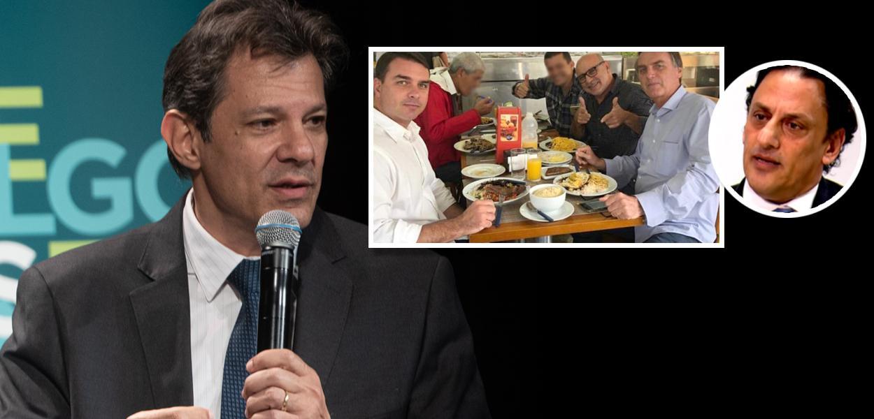 Fernando Haddad, Flávio Bolsonaro, Fabrício Queiroz, Jair Bolsonaro e Frederick Wassef
