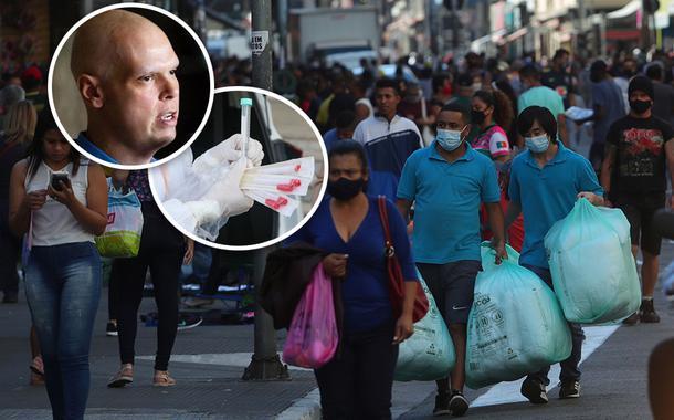 Bruno Covas; pessoas caminham pela rua 25 de março em São Paulo