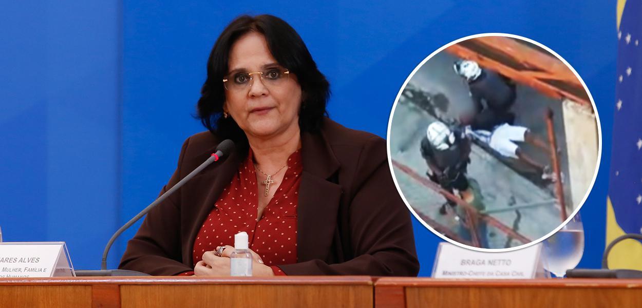 Damares Alves e policial agredindo homem