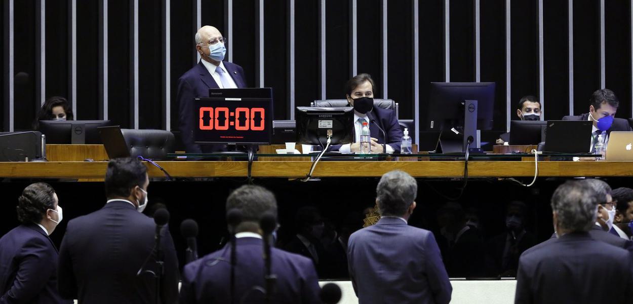 Plenário da Câmara com Rodrigo Maia