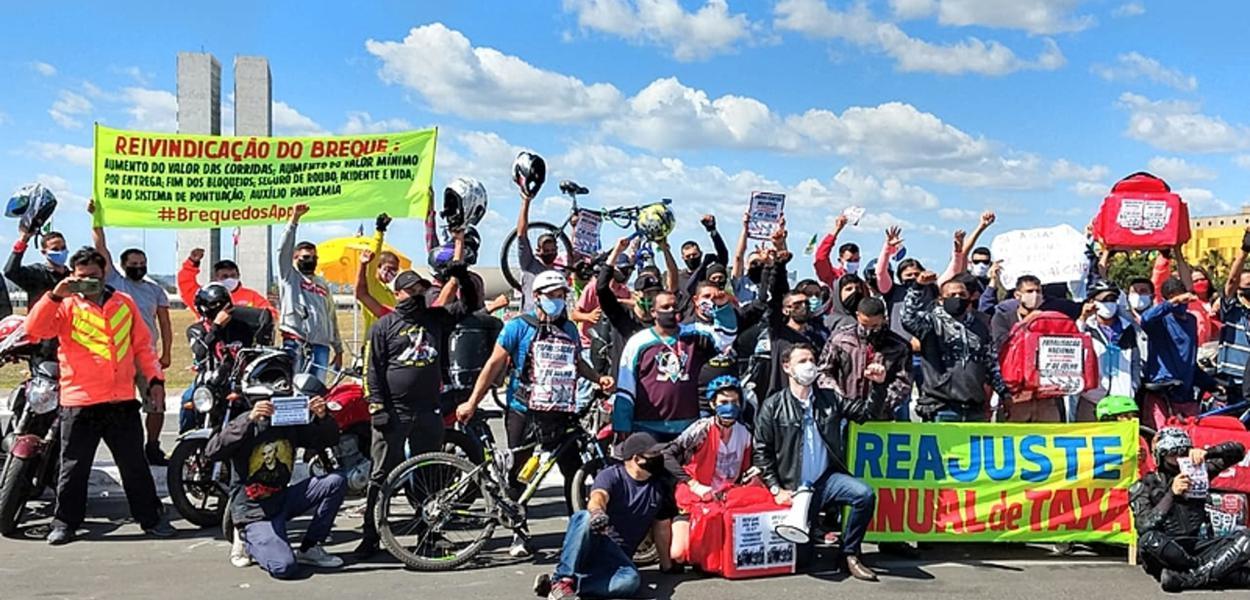 Manifestação de entregadores em Brasília