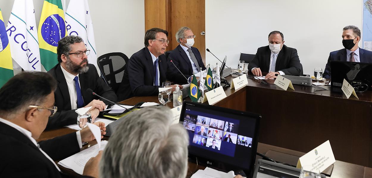 Ernesto Araújo, Jair Bolsonaro, Paulo Guedes e Eduardo Pazuello