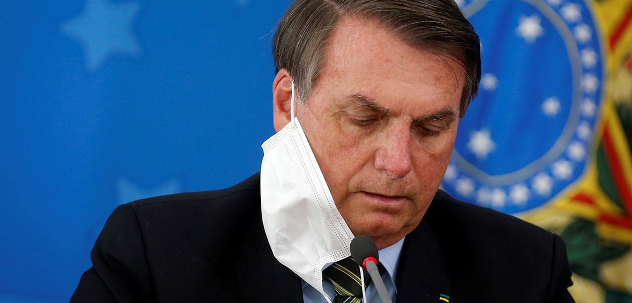Jair Bolsonaro durante entrevista coletiva em Brasília