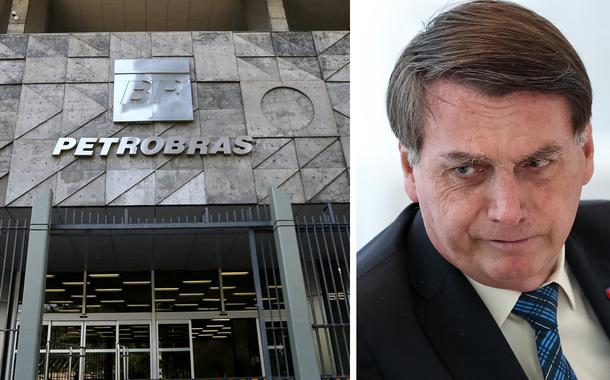 Fachada da Petrobras e Jair Bolsonaro