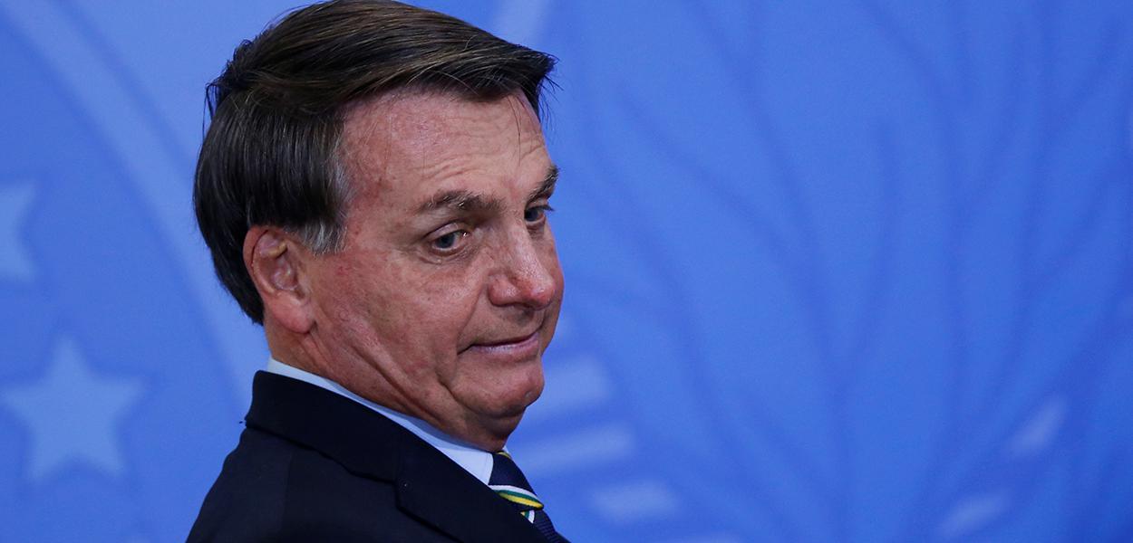Bolsonaro, em evento no Planalto, em Brasília