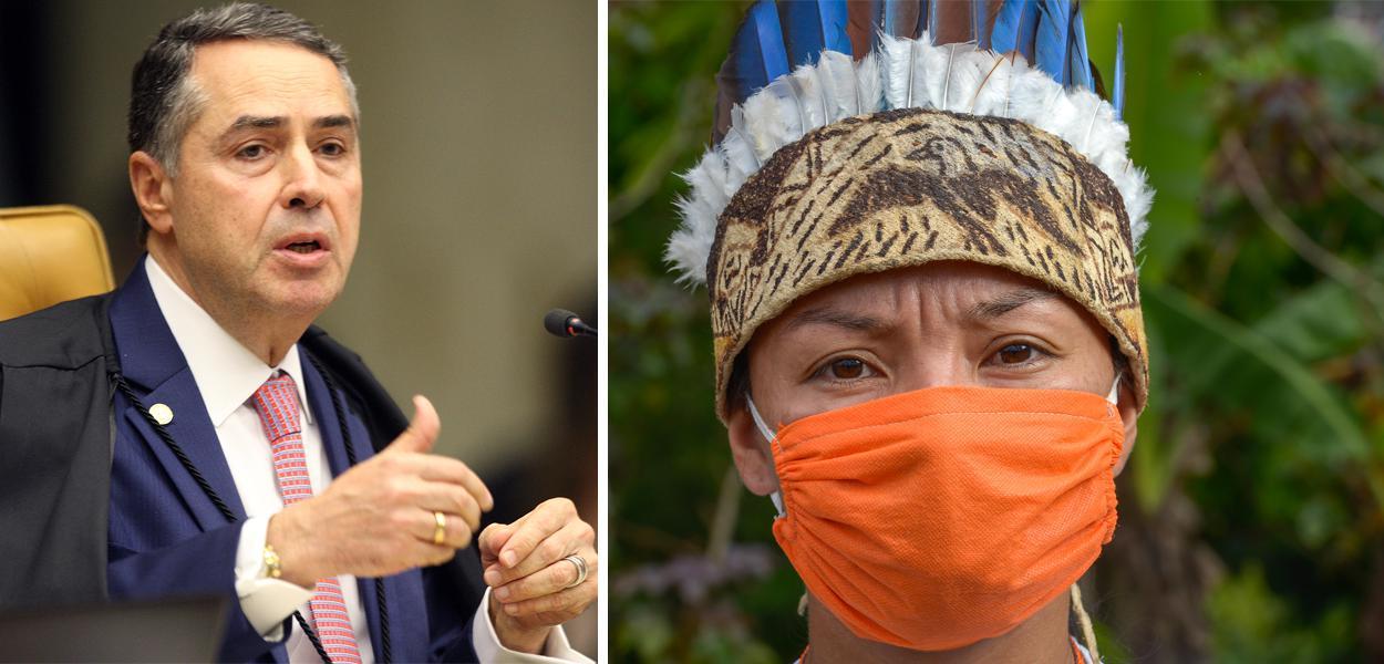 Roberto Barroso e índio usando máscara para se proteger da covid-19