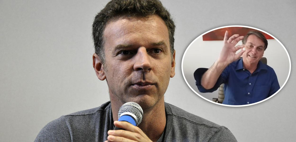 Eduardo Moreira e Jair Bolsonaro mostrando um comprimido de cloroquina